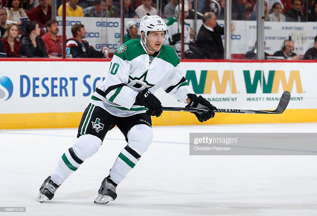 Shawn Horcoff of the Dallas Stars in action during the NHL game against the Arizona Coyotes at Gila River Arena on November 11 2014 in Glendale...