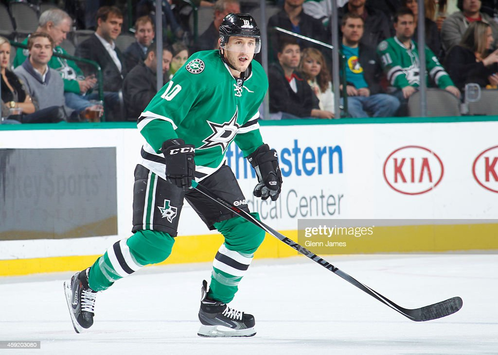 Shawn Horcoff of the Dallas Stars skates against the Carolina Hurricanes at the American Airlines Center on November 18 2014 in Dallas Texas