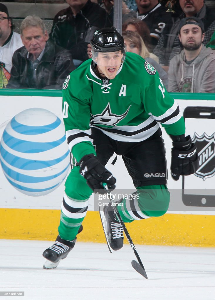 Shawn Horcoff of the Dallas Stars skates against the Chicago Blackhawks at the American Airlines Center on March 21 2015 in Dallas Texas