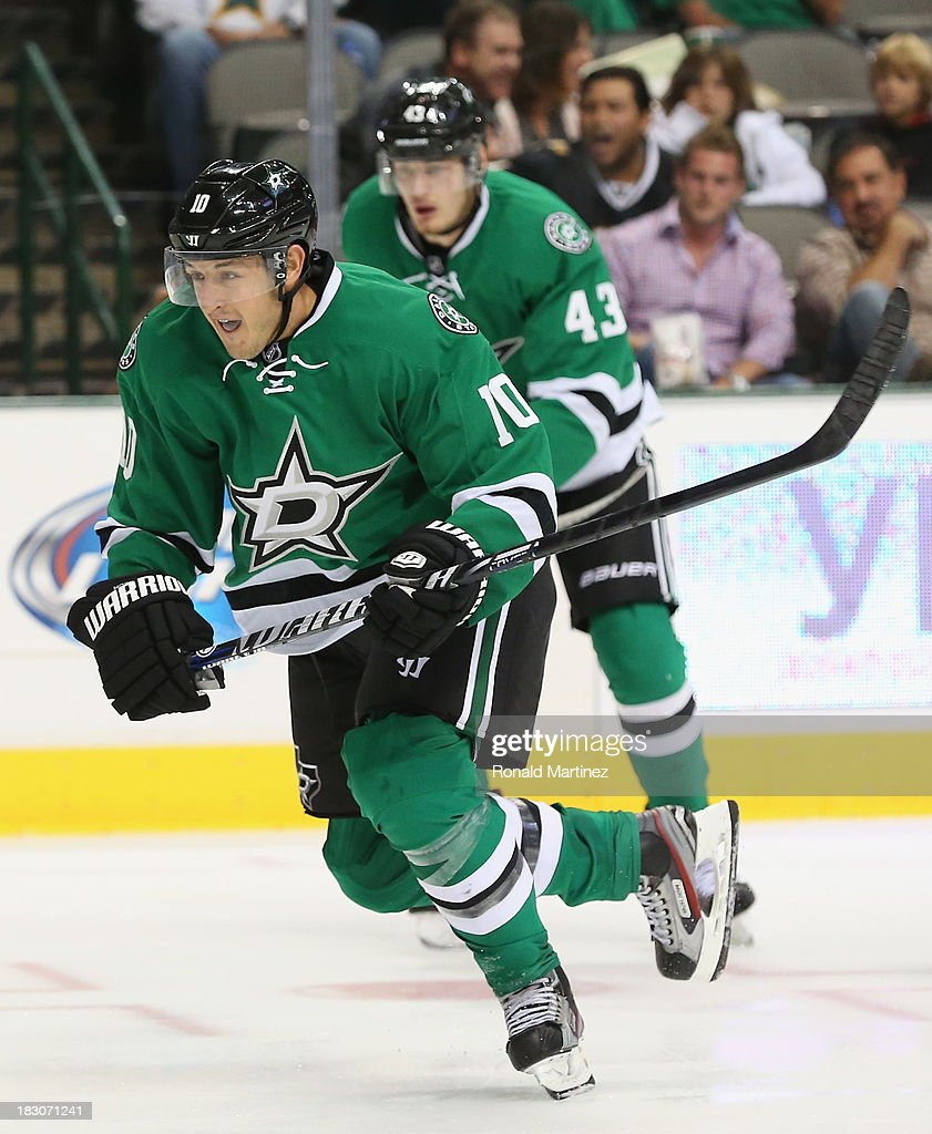 Shawn Horcoff of the Dallas Stars skates against the Florida Panthers at American Airlines Center on October 3 2013 in Dallas Texas
