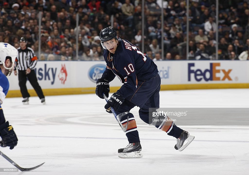 Shawn Horcoff of the Edmonton Oilers skates against the St Louis Blues during their NHL game on December 21 2009 at Rexall Place in Edmonton Alberta...