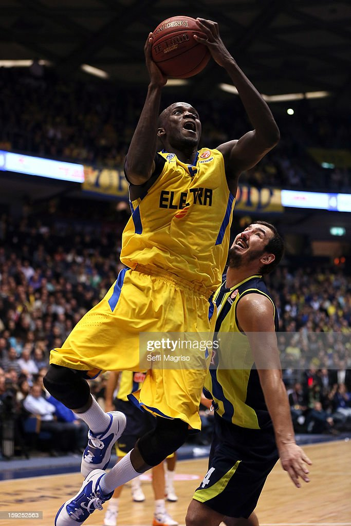 Shawn James, #5 of Maccabi Electra Tel Aviv in action during the 2012-2013 Turkish Airlines Euroleague Top 16 Date 3 between Maccabi Electra Tel Aviv v Fenerbahce Ulker Istanbul at Nokia Arena on January 10, 2013 in Tel Aviv, Israel.