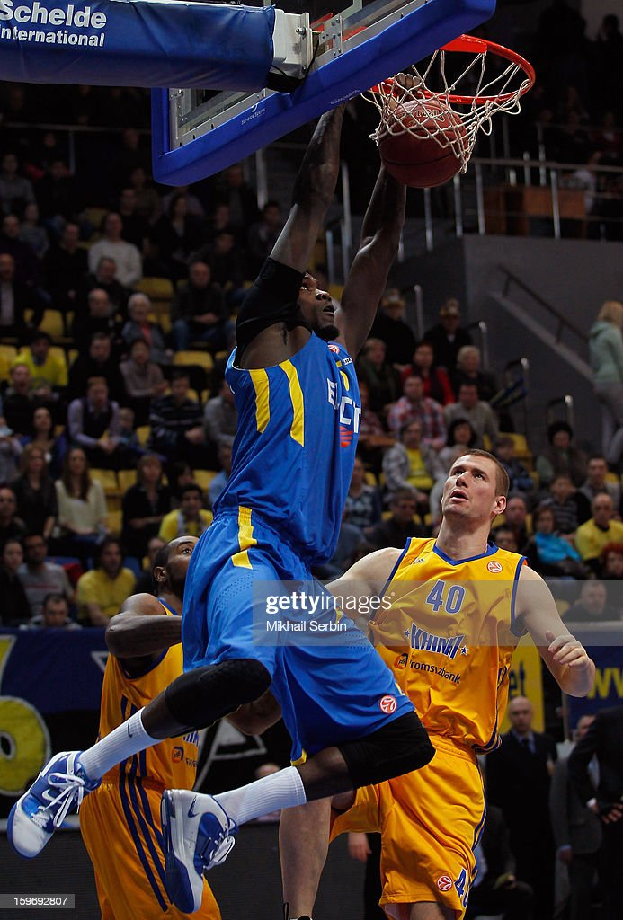 Shawn James, #5 of Maccabi Electra Tel Aviv in action during the 2012-2013 Turkish Airlines Euroleague Top 16 Date 4 between BC Khimki Moscow Region v Maccabi Electra Tel Aviv at Basketball Center of Moscow Region on January 18, 2013 in Moscow, Russia.
