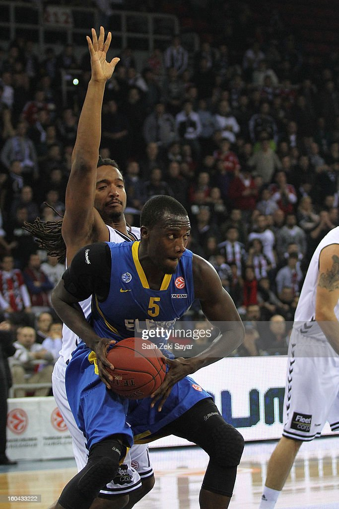 Shawn James #5 of Maccabi Electra competes with Randal Falker #14 of Besiktas JK Istanbul during the 2012-2013 Turkish Airlines Euroleague Top 16 Date 6 between Besiktas JK Istanbul v Maccabi Electra Tel Aviv at Abdi Ipekci Sports Arena on January 31, 2013 in Istanbul, Turkey.