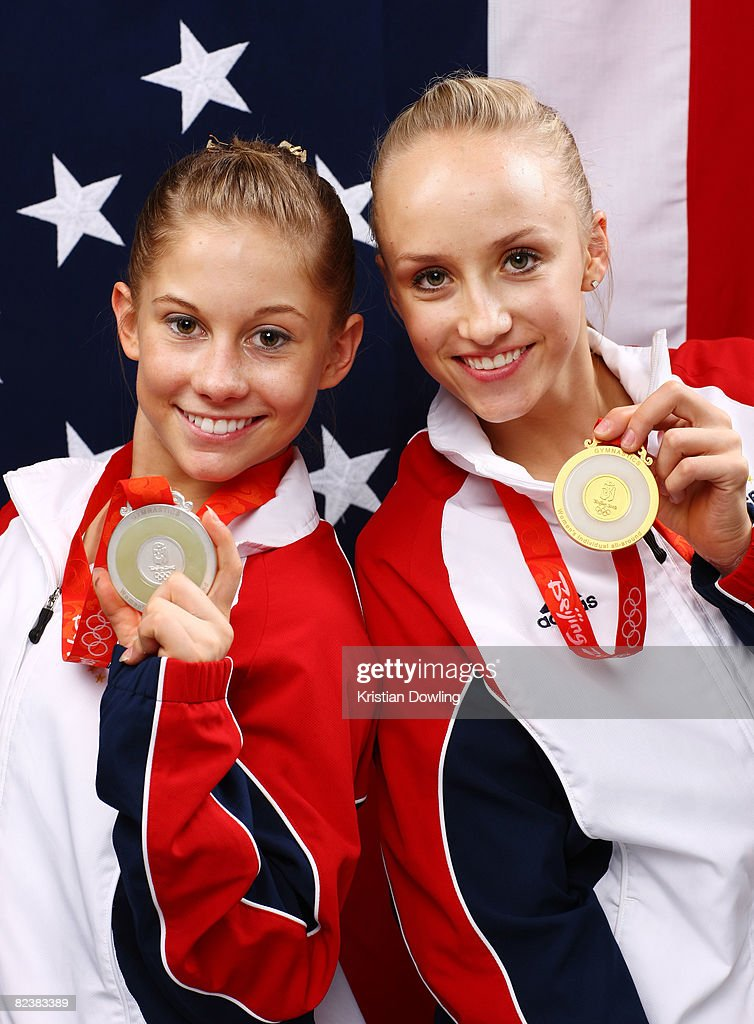 Shawn Johnson and Nastia Liukin of the United States pose together with their medals from the Women's all around Gymnastics event in the NBC Today...