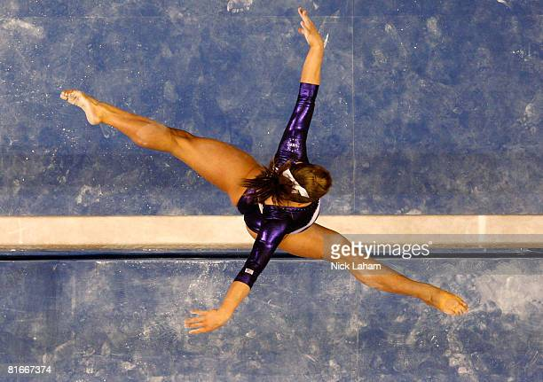 Shawn Johnson competes on the balance beam during day four of the 2008 US Olympic Team Trials for gymnastics at the Wachovia Center on June 22 2008...