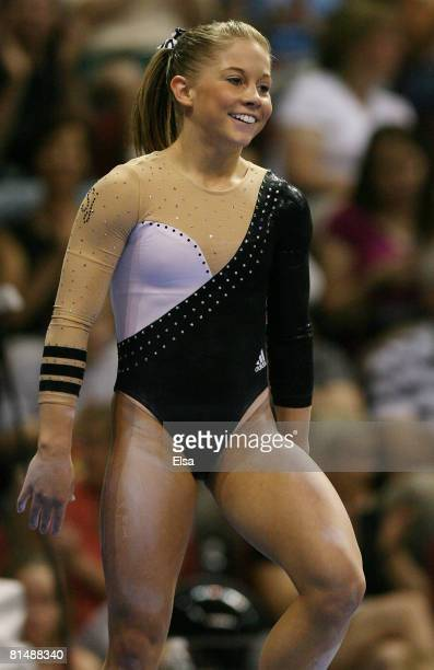 Shawn Johnson finishes her routine on the balance beam during day 3 of the Visa Championships at Agganis Arena June 7 2008 in Boston Massachusetts