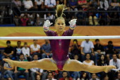 Shawn Johnson of the United States competes in the Women's Artistic Gymnastics Finals in Uneven Bars during Day 13 of the XVI Pan American Games at...