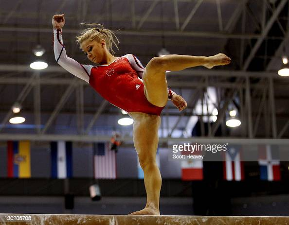 Shawn Johnson of the USA in action during the Women's Artistic Gymnastics at the Nissan Gymnastics Complex during Day Ten of the XVI Pan American...