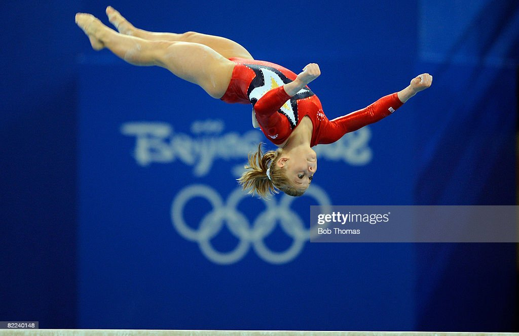 Shawn Johnson of the USA performs on the balance beam during qualification for the women's artistic gymnastics event held at the National Indoor Stadium during Day 2 of the 2008 Summer Olympic Games on August 10, 2008 in Beijing, China.