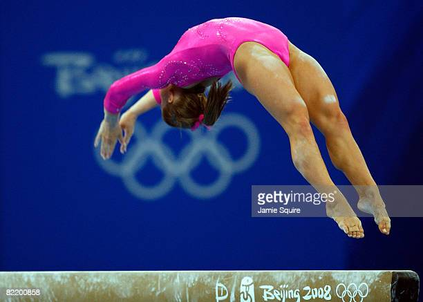 Shawn Johnson of the USA practices on the balance beam ahead of the Beijing 2008 Olympic Games in the National Indoor Stadium on August 7 2008 in...