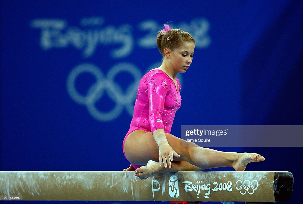 Shawn Johnson of the USA practices on the balance beam in the National Indoor Stadium ahead of the Beijing 2008 Olympic Games on August 7 2008 in...