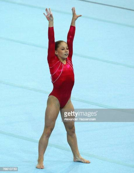 Shawn Johnson of the USA wins the womans Floor final competition of the 40th World Artistic Gymnastics Championships on September 9 2007 at the...