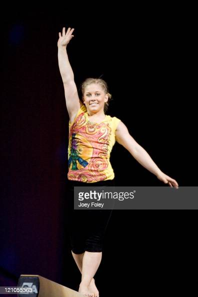 Shawn Johnson performs on the Balance Beam on the Tour Of Gymnastics Superstars at Conseco Fieldhouse on November 11 2008 in Indianapolis