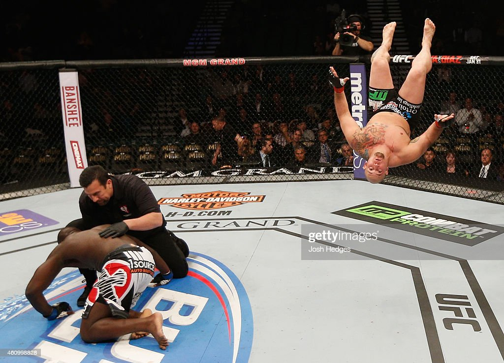 Shawn Jordan celebrates his knockout win over Jared Cannonier in their heavyweight bout during the UFC 182 event at the MGM Grand Garden Arena on January 3, 2015 in Las Vegas, Nevada.