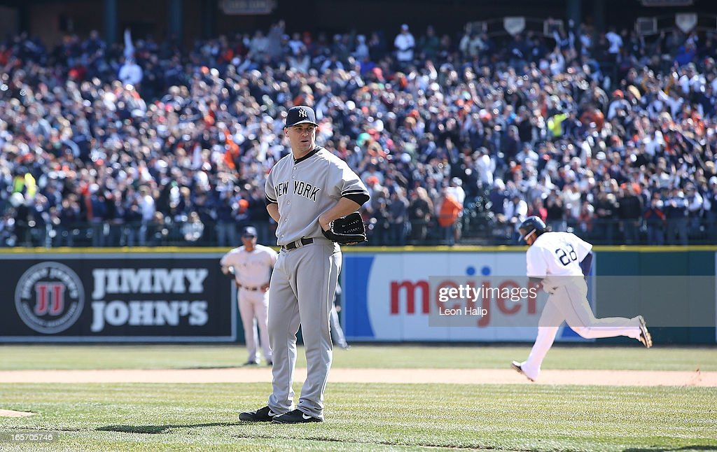 Shawn Kelley #27 of the New York Yankees reacts after giving up a two run home run to Prince Fielder #28 of the Detroit Tigers in the seventh inning of the game during the home opener at Comerica Park on April 5, 2013 in Detroit, Michigan.