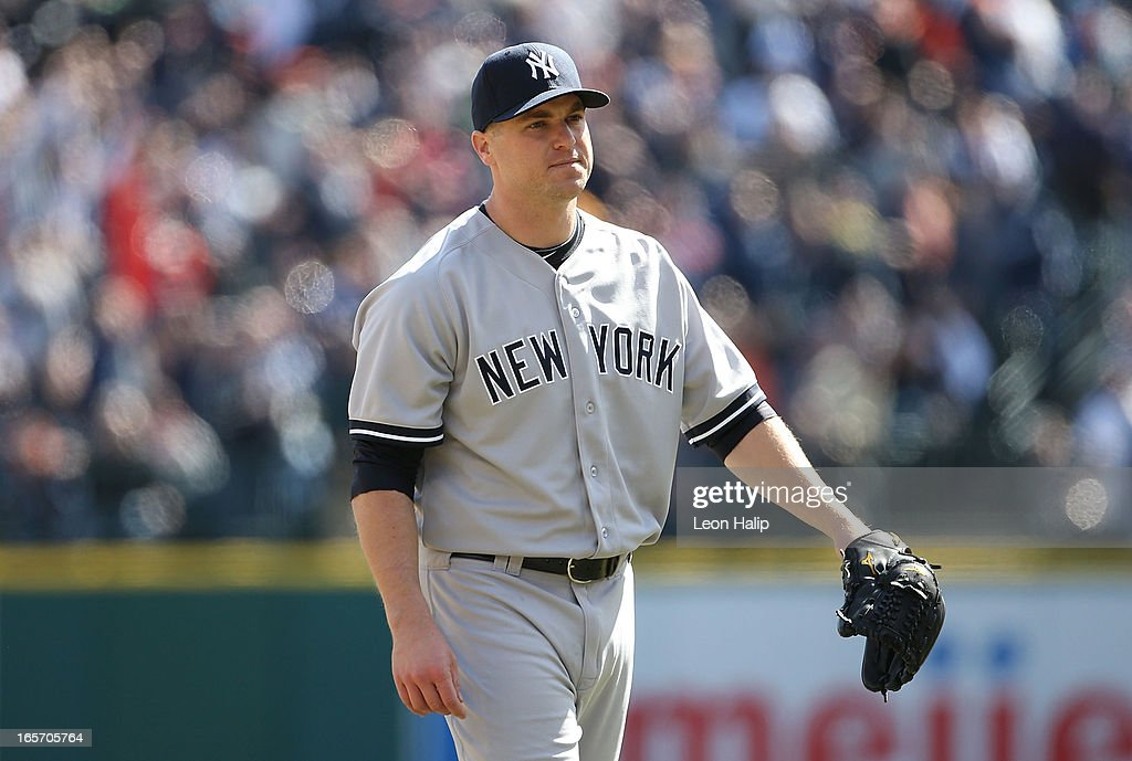 Shawn Kelley #27 of the New York Yankees reacts after giving up a two run home run to <a gi-track='captionPersonalityLinkClicked' href=/galleries/search?phrase=Prince+Fielder&family=editorial&specificpeople=209392 ng-click='$event.stopPropagation()'>Prince Fielder</a> #28 of the Detroit Tigers in the seventh inning of the game during the home opener at Comerica Park on April 5, 2013 in Detroit, Michigan.