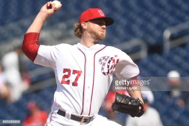 Shawn Kelley of the Washington Nationals during a baseball game against the Texas Rangers at Nationals Park on June 10 2017 in Washington DC The...