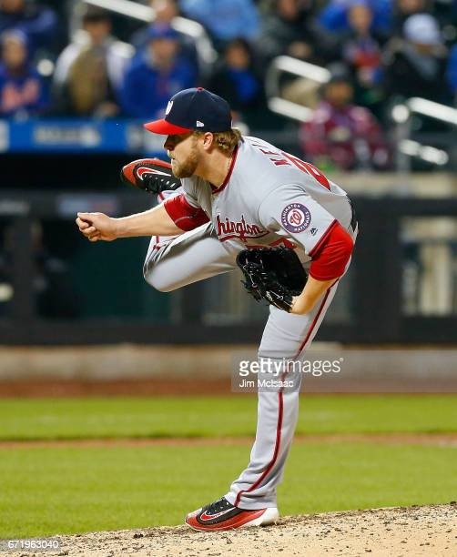Shawn Kelley of the Washington Nationals in action against the New York Mets at Citi Field on April 21 2017 in the Flushing neighborhood of the...