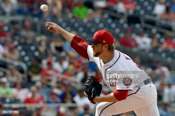 Shawn Kelley of the Washington Nationals pitches against the New York Mets at Nationals Park on April 29 2017 in Washington DC