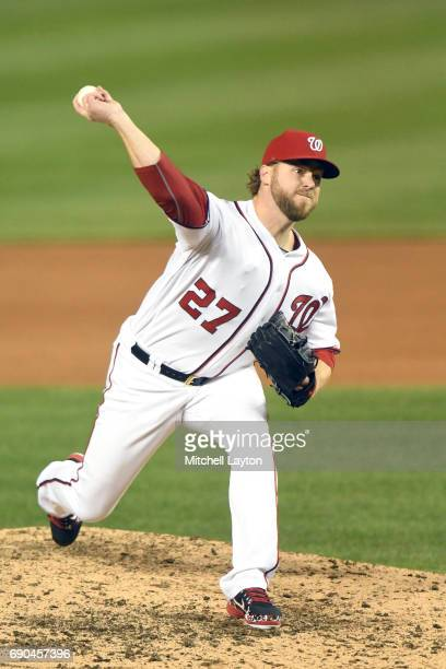 Shawn Kelley of the Washington Nationals pitches during a baseball game against the Seattle Mariners at Nationals Park on May 24 2017 in Washington...