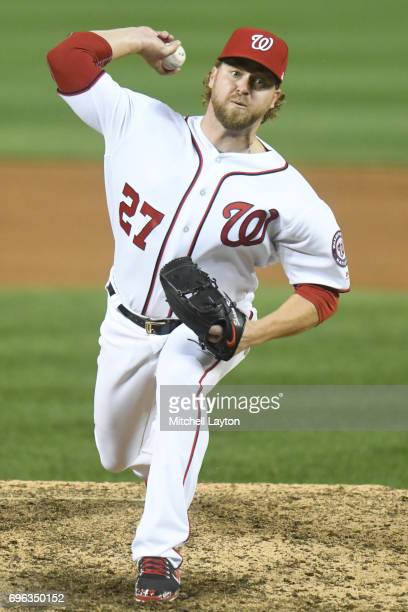 Shawn Kelley of the Washington Nationals pitches during a baseball game against the Atlanta Braves at Nationals Park on June 12 2017 in Washington DC...