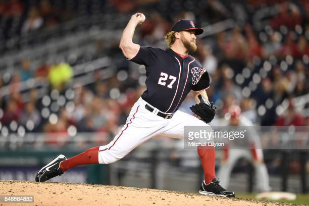 Shawn Kelley of the Washington Nationals pitches during a baseball game against the Philadelphia Phillies at Nationals Park on September 8 2017 in...