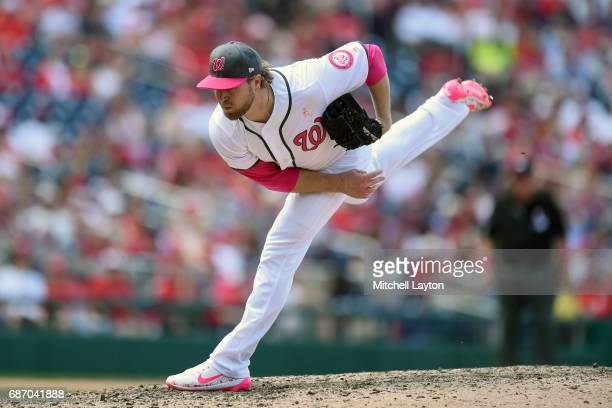 Shawn Kelley of the Washington Nationals pitches during game one of baseball game against the Philadelphia Phillies at Nationals Park on May 14 2017...