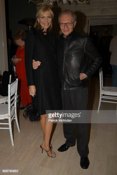 Shawn King and Larry King attend Kathy and Rick Hilton's party for Donald Trump and 'The Apprentice' at the Hiltons' Home on February 28 2004 in...