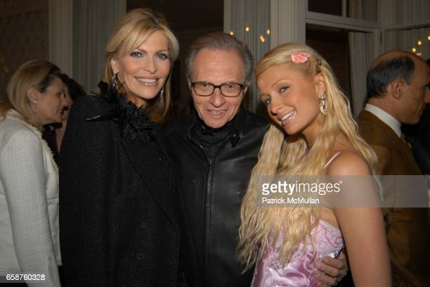 Shawn King Larry King and Paris Hilton attend Kathy and Rick Hilton's party for Donald Trump and 'The Apprentice' at the Hiltons' Home on February 28...