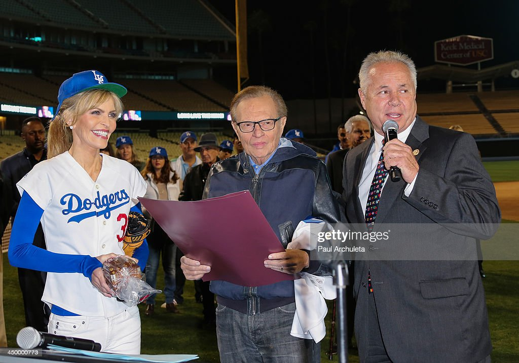 Shawn King, Larry King and Tom LaBonge attend a surprise party for Larry King's 80th Birthday at Dodger Stadium on November 15, 2013 in Los Angeles, California.