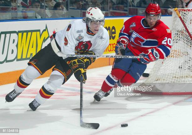 Shawn Lalonde of the Belleville Bulls skates away from David Rutherford of the Spokane Chiefs in the second game of the Memorial Cup Championship on...