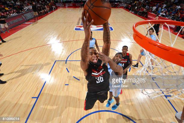 Shawn Long of the Houston Rockets goes for a dunk during the game against the Denver Nuggets during the 2017 Las Vegas Summer League on July 7 2017...