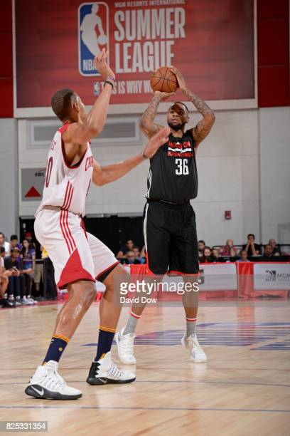 Shawn Long of the Houston Rockets shoots the ball during the game against the Cleveland Cavaliers during the 2017 Las Vegas Summer League on July 8...