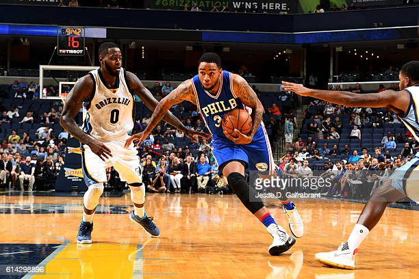 Shawn Long of the Philadelphia 76ers drives to the basket against the Memphis Grizzlies on October 11 2016 at FedExForum in Memphis Tennessee NOTE TO...