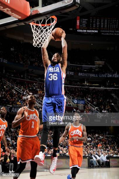 Shawn Long of the Philadelphia 76ers dunks against the Cleveland Cavaliers during the game on March 31 2017 at Quicken Loans Arena in Cleveland Ohio...
