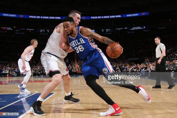 Shawn Long of the Philadelphia 76ers handles the ball against the New York Knicks on April 12 2017 at Madison Square Garden in New York City New York...