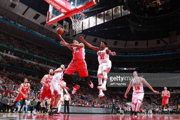 Shawn Long of the Philadelphia 76ers shoots the ball against the Chicago Bulls during the game on March 24 2017 at the United Center in Chicago...
