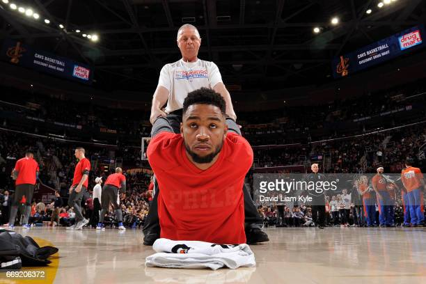 Shawn Long of the Philadelphia 76ers warms up before the game against the Cleveland Cavaliers on March 31 2017 at Quicken Loans Arena in Cleveland...