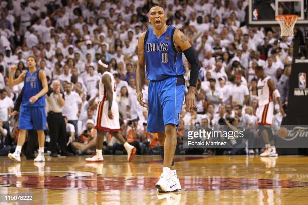 Shawn Marion and Dirk Nowitzki of the Dallas Mavericks reacts against LeBron James and Dwyane Wade of the Miami Heat in Game Two of the 2011 NBA...