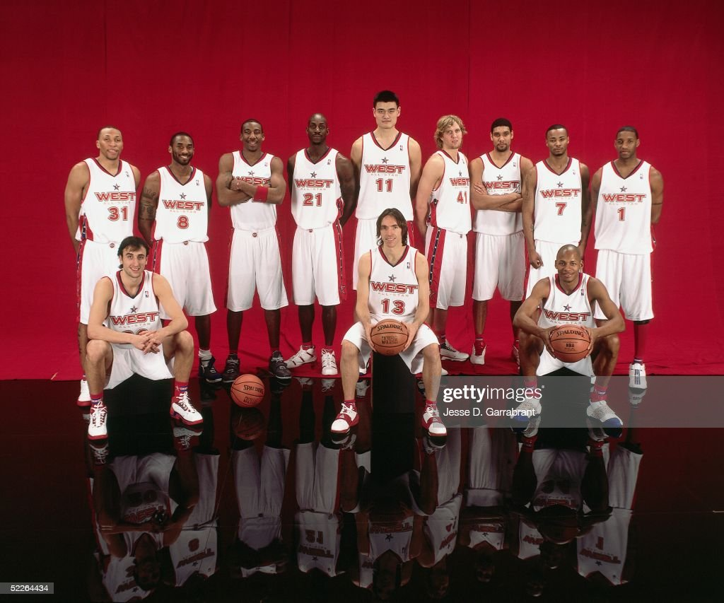 Shawn Marion #31, Emanuel 'Manu' Ginobili #20, Kobe Bryant #8, Amare Stoudemire #32, Kevin Garnett #21, Yao Ming #11, Steve Nash #13, Dirk Nowitzki #41, Tim Duncan #21, Rashard Lewis #7, Ray Allen #34 and Tracy McGrady #1 of the Western Conference All-Stars pose for a portrait prior to the 2005 NBA All-Star Game at The Pepsi Center on February 20, 2005 in Denver, Colorado.