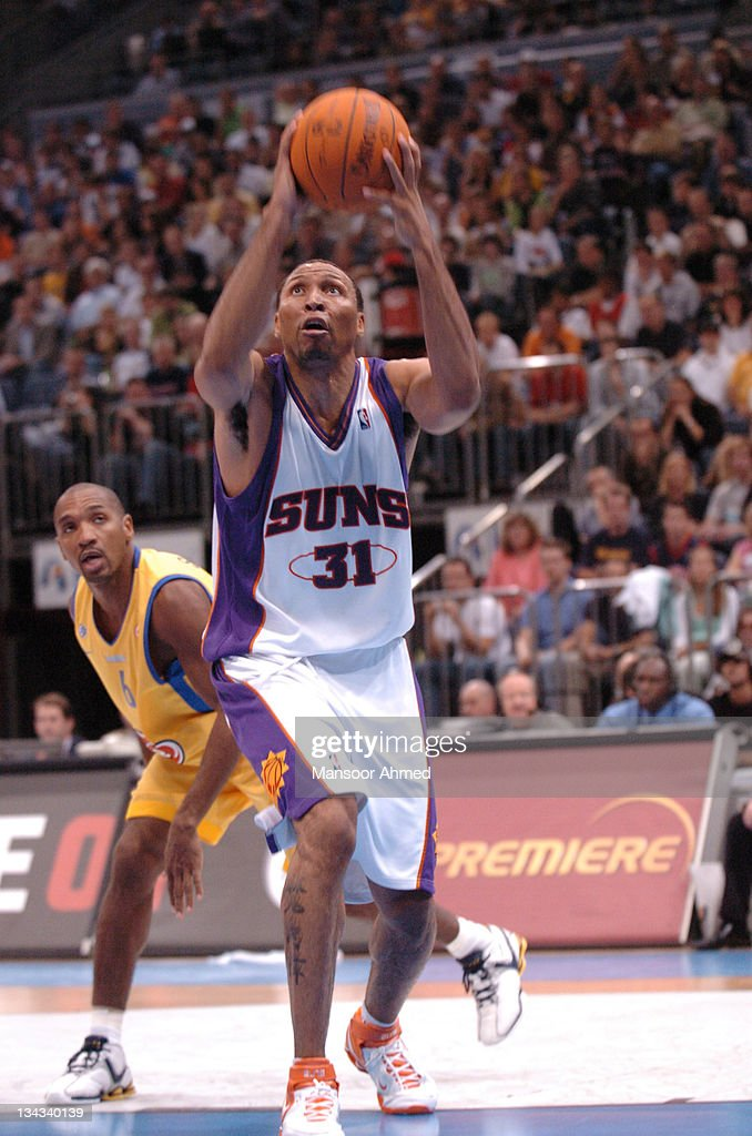 <a gi-track='captionPersonalityLinkClicked' href=/galleries/search?phrase=Shawn+Marion&family=editorial&specificpeople=201566 ng-click='$event.stopPropagation()'>Shawn Marion</a> of Phoenix aims for the basket during the NBA Europe Live Tour presented by EA Sports on October 11, 2006 at the Kölnarena in Cologne, Germany.