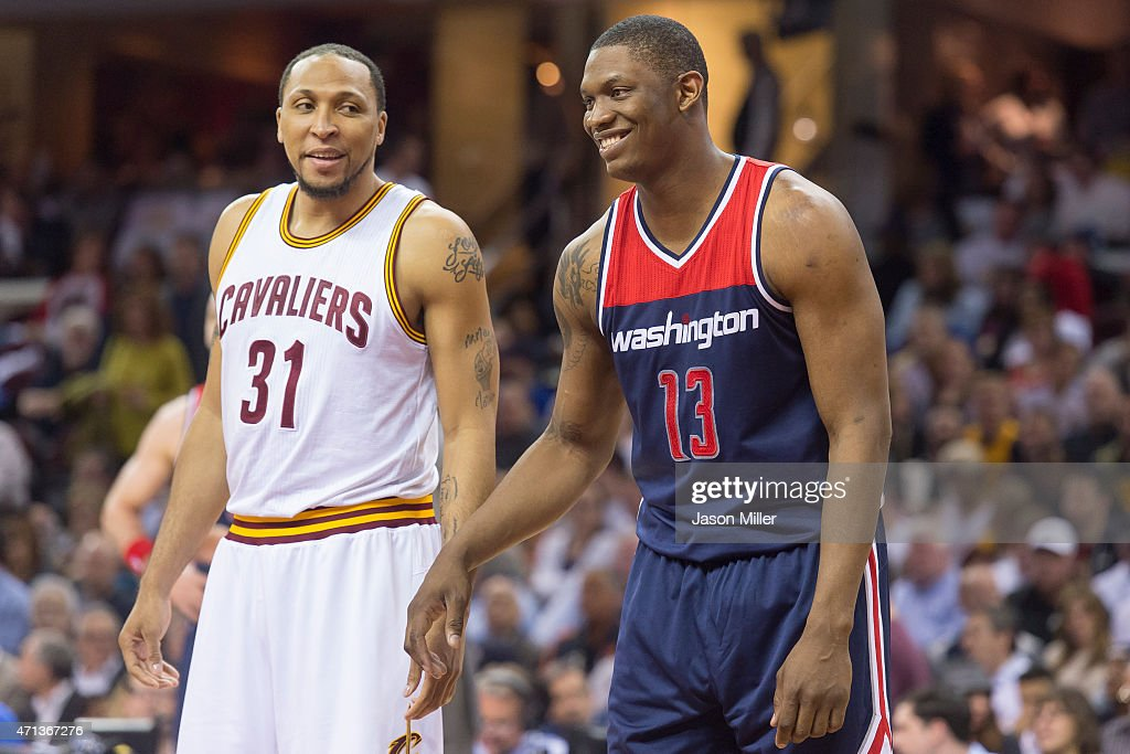 Shawn Marion #31 of the Cleveland Cavaliers and Kevin Seraphin #13 of the Washington Wizards wait for the rebound during the second half at Quicken Loans Arena on April 15, 2015 in Cleveland, Ohio. The Cavaliers defeated the Wizards 113-108 in overtime.