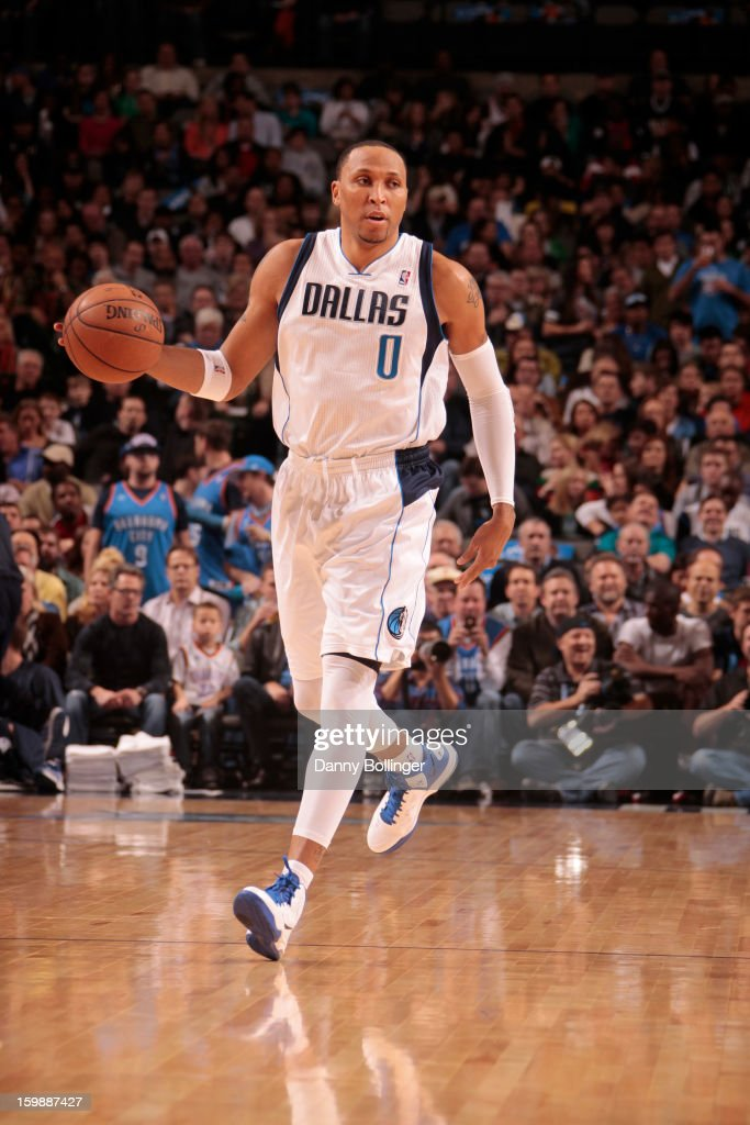 <a gi-track='captionPersonalityLinkClicked' href=/galleries/search?phrase=Shawn+Marion&family=editorial&specificpeople=201566 ng-click='$event.stopPropagation()'>Shawn Marion</a> #0 of the Dallas Mavericks brings the ball up court against the Oklahoma City Thunder on January 18, 2013 at the American Airlines Center in Dallas, Texas.