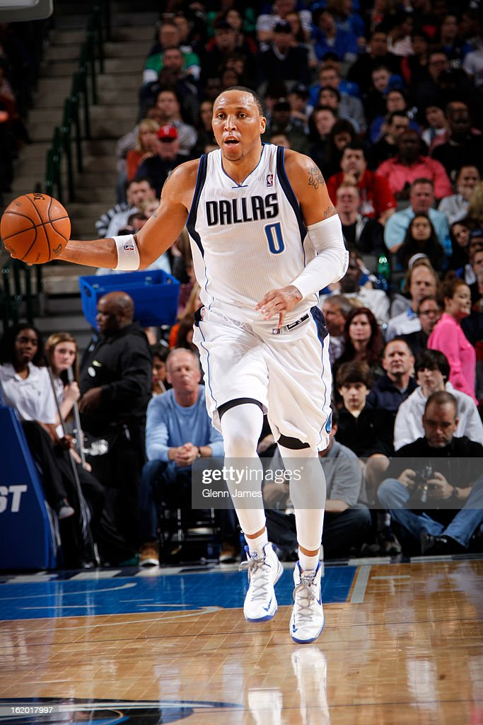 <a gi-track='captionPersonalityLinkClicked' href=/galleries/search?phrase=Shawn+Marion&family=editorial&specificpeople=201566 ng-click='$event.stopPropagation()'>Shawn Marion</a> #0 of the Dallas Mavericks brings the ball up court against the Golden State Warriors on February 9, 2013 at the American Airlines Center in Dallas, Texas.