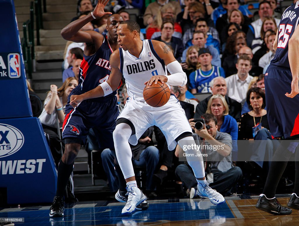 Shawn Marion #0 of the Dallas Mavericks controls the ball against Anthony Tolliver #4 of the Atlanta Hawks on February 11, 2013 at the American Airlines Center in Dallas, Texas.