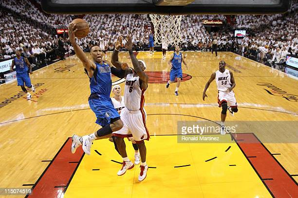 Shawn Marion of the Dallas Mavericks drives for a shot attempt against LeBron James of the Miami Heat in Game Two of the 2011 NBA Finals at American...