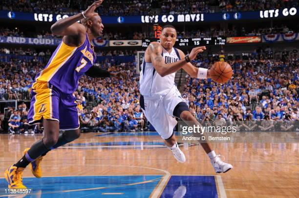 Shawn Marion of the Dallas Mavericks drives to the basket against Lamar Odom of the Los Angeles Lakers during Game Four of the Western Conference...