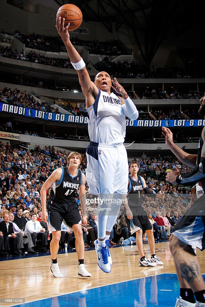 Shawn Marion #0 of the Dallas Mavericks drives to the basket against Minnesota Timberwolves on January 14, 2013 at the American Airlines Center in Dallas, Texas.