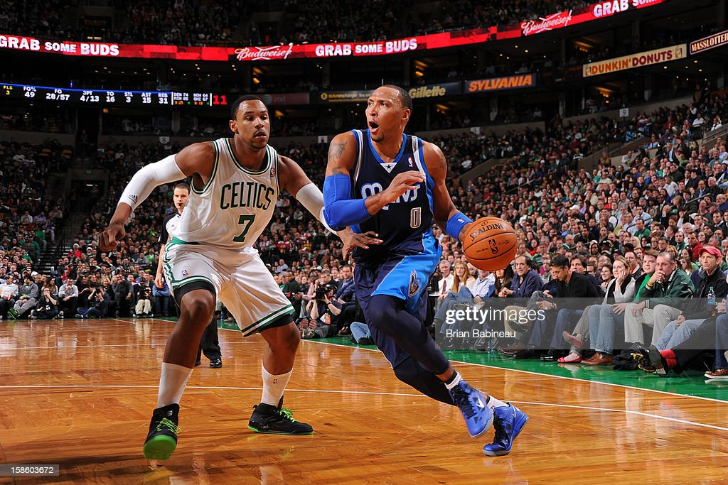 Shawn Marion #0 of the Dallas Mavericks drives to the basket around Jared Sullinger #7 of the Boston Celtics on December 12, 2012 at the TD Garden in Boston, Massachusetts.